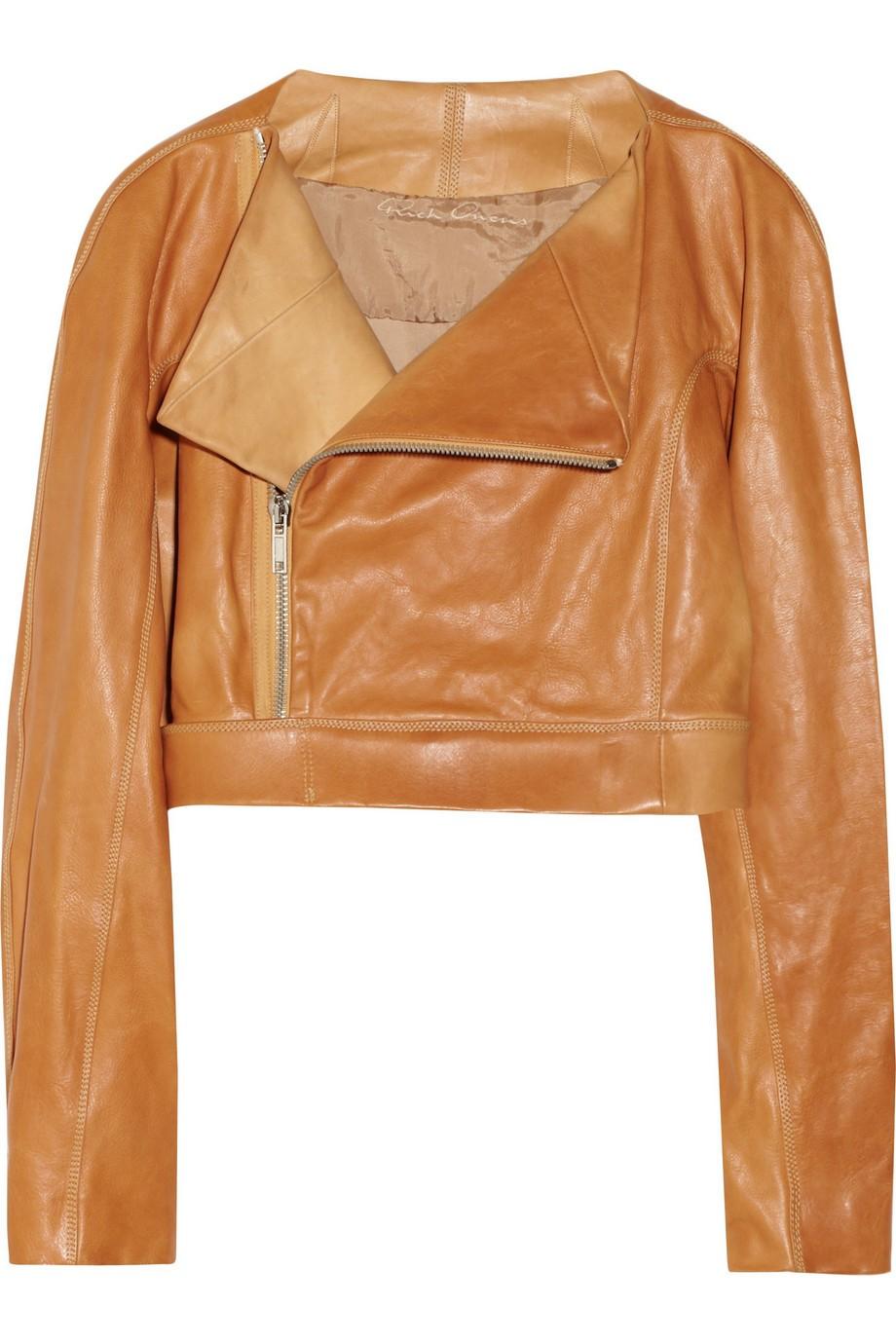 Cropped leather biker jacket