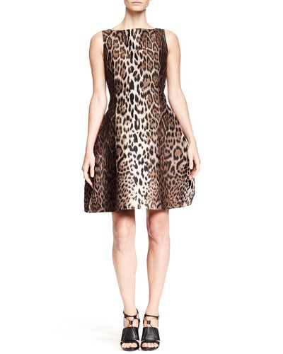 Leopard-Print Dress with Full Skirt