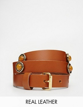 Black & Brown Slim Leather Waist Belt With Tonal Stone Ornaments