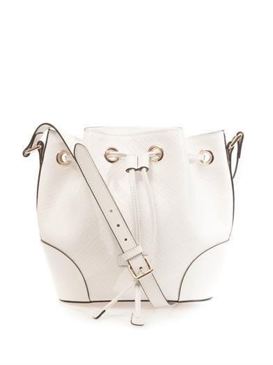 Diamante-effect leather bucket bag