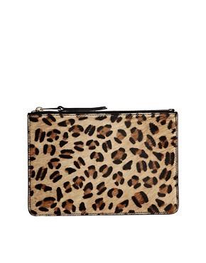 French Connection Par Leopard Print Leather Zip Top Pouch