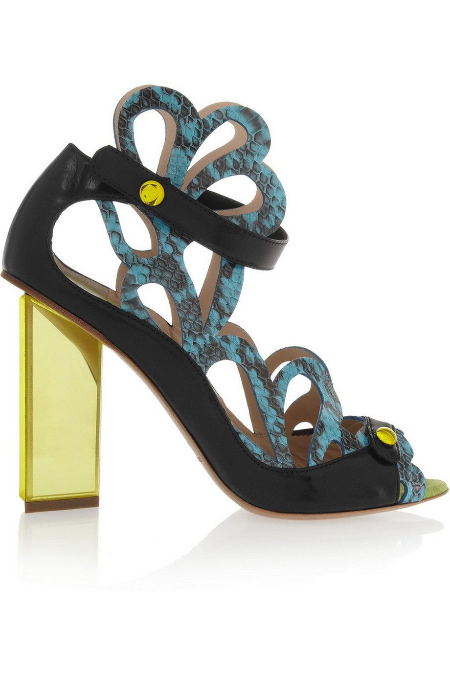 Laser-cut elaphe and leather sandals