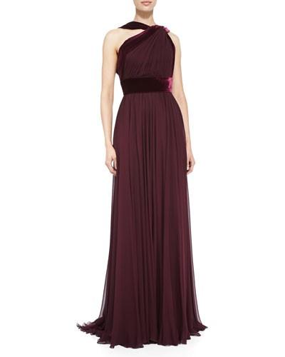 Halter Gown with Velvet Trim, Wine