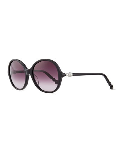 Mila ZB 				 			 		 		 	 	   				 				Round Sunglasses with Pearly Hinges, Black
