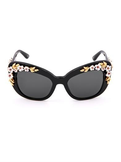 Flower-embellished cat-eye sunglasses