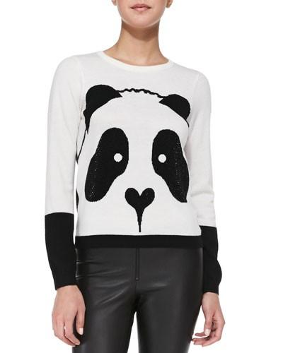 Alice   Olivia          Crewneck Rhinestone Panda Sweater