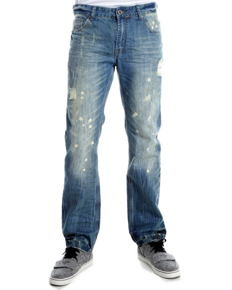 Basic Essentials Men Medium Wash Xray Paint Splatter Denim Jeans