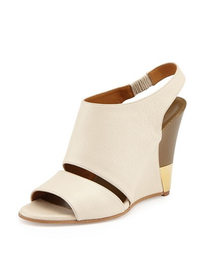 Leather Slingback Wedge, Ivory/Military