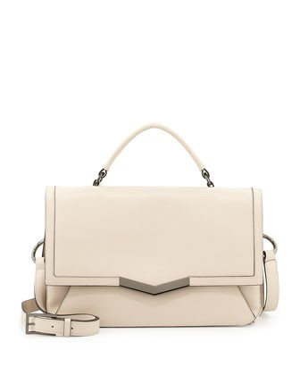 Helene Small Leather Shoulder Bag, Ivory