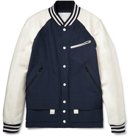 Leather-Trimmed Patterned Cotton Bomber Jacket
