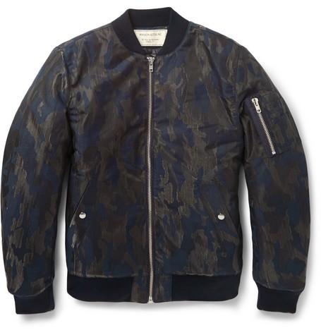 Camouflage Jacquard Cotton-Blend Bomber Jacket