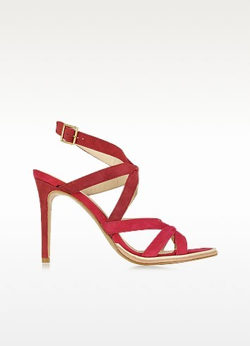 Gradient Red Suede High Heel Sandal