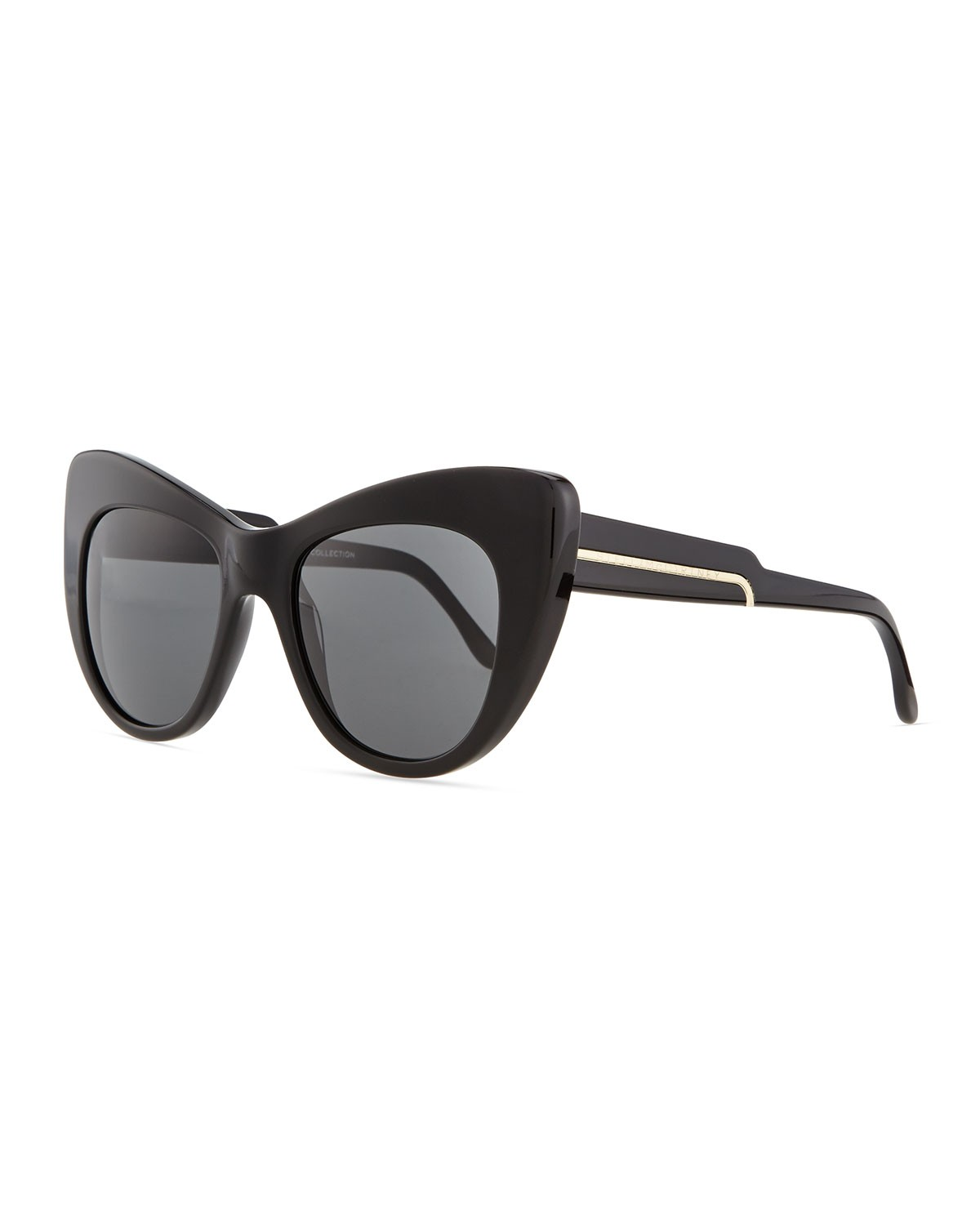 Thick Plastic Cat-Eye Sunglasses, Black - Stella McCartney - Black