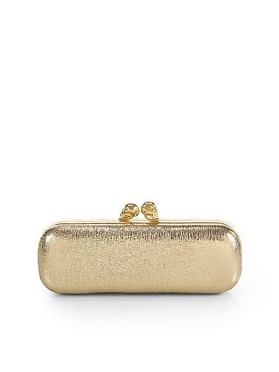 Twin Skull Metallic Box Clutch
