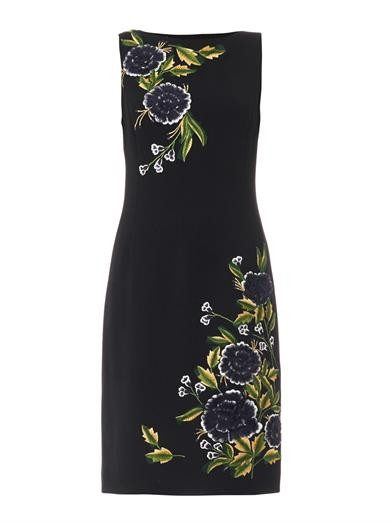 Chrysanthemum wool-crepe dress