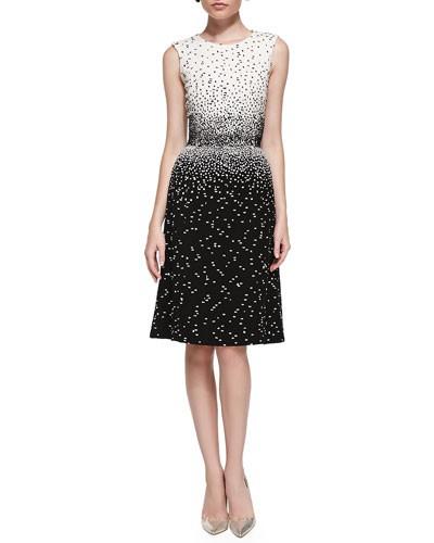Oscar de la Renta          Sleeveless Dotted Dress, Ivory/Black