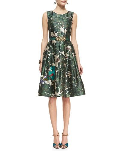 Oscar de la Renta          Forest Printed A-Line Dress & Satin Ornament-Buc