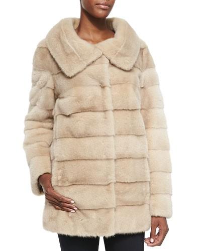 Oscar de la Renta          Mink Fur/Taffeta Reversible Coat