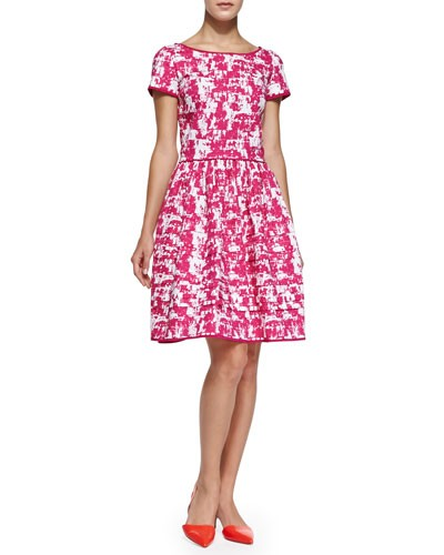 Oscar de la Renta          Short-Sleeve Printed Fit & Flare Dress