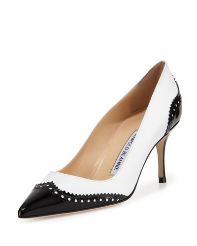 Manolo Blahnik 				 			 		 		 	 	   				 				Ancor Leather Wing-Tip Spectator Pump, Black/White