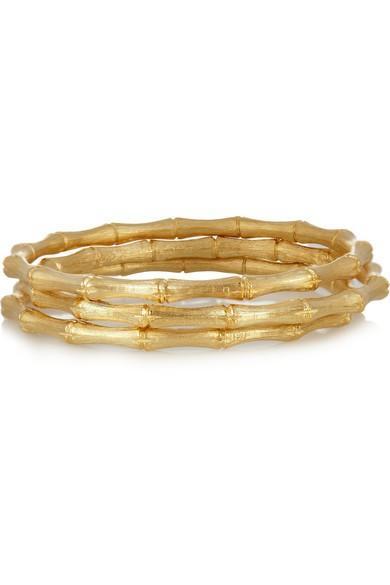 Set of three gold-plated bangles