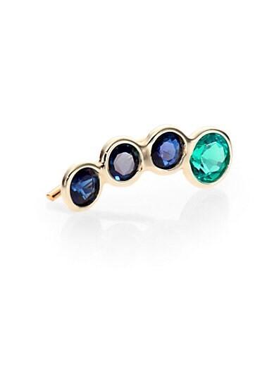 Emerald, Sapphire & 14K Yellow Gold Ear Cuff