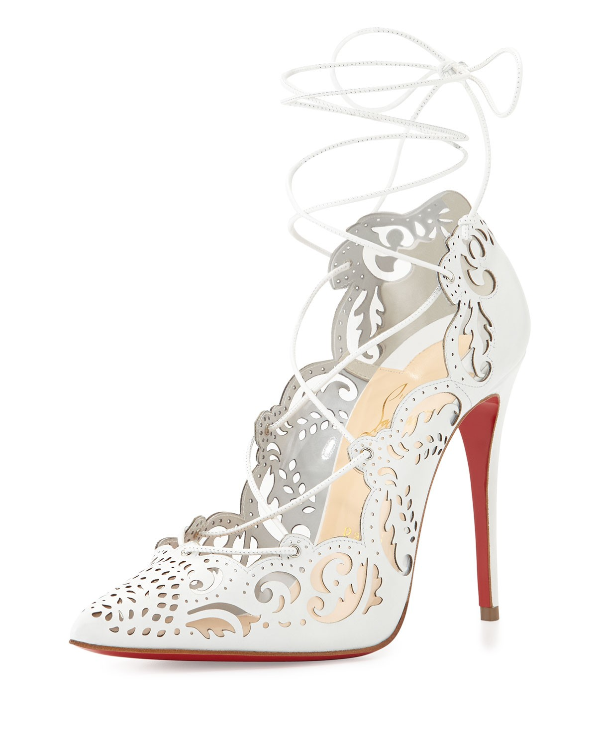 Impera Lace-Up Red Sole Pump, White - Christian Louboutin - White (35.0B/5.0B)