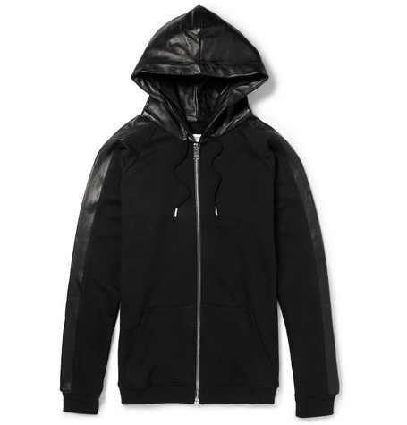 Leather-Trimmed Cotton Hoodie