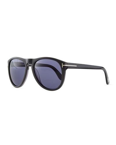 Tom Ford          Kurt Acetate Aviator Sunglasses, Gray