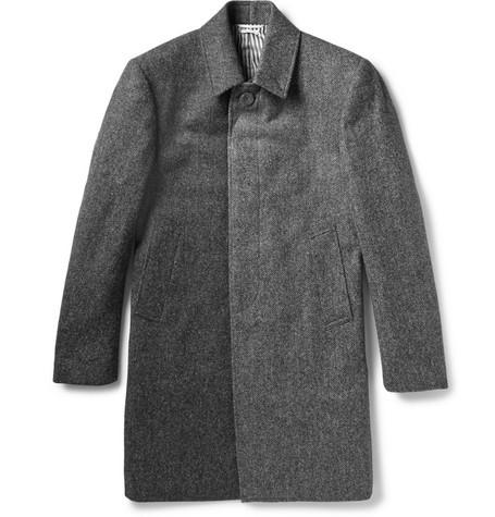 Herringbone Wool-Tweed Overcoat