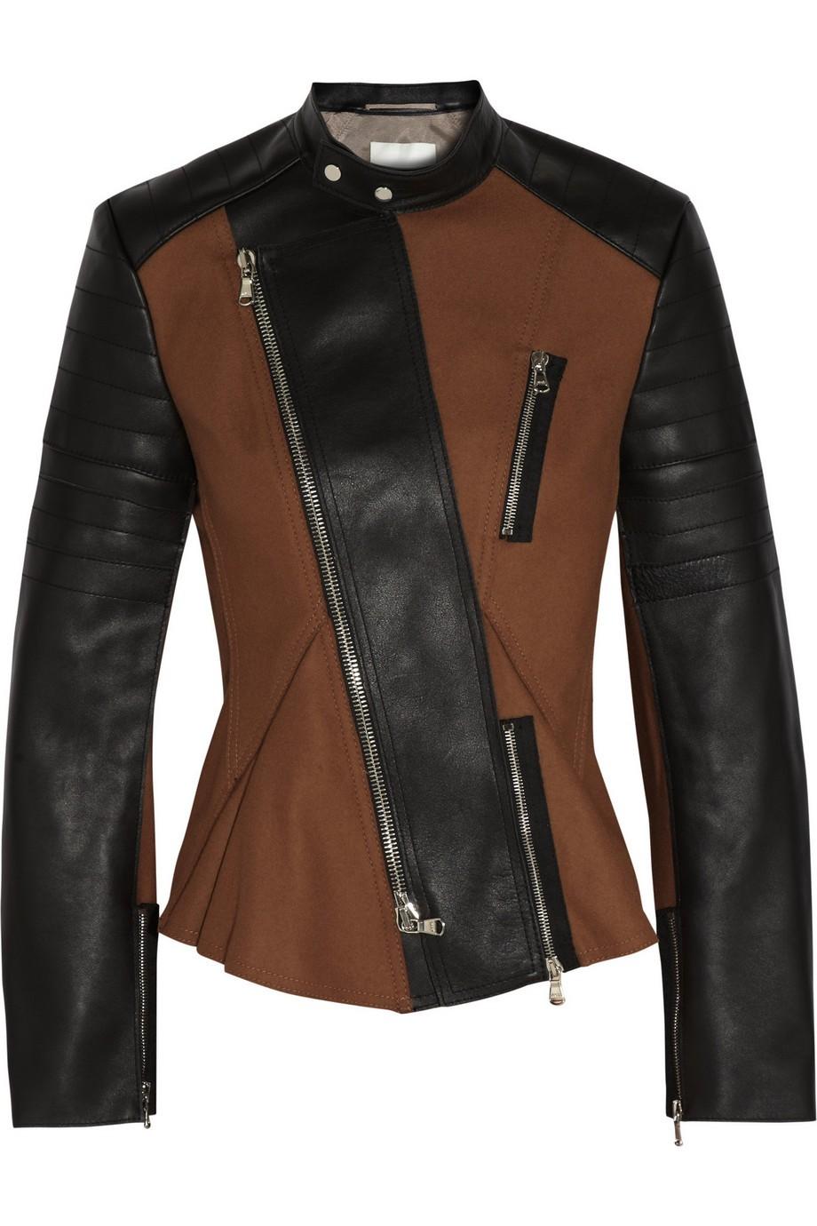Wool-blend felt and leather biker jacket
