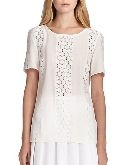 Lace Short-Sleeve Blouse