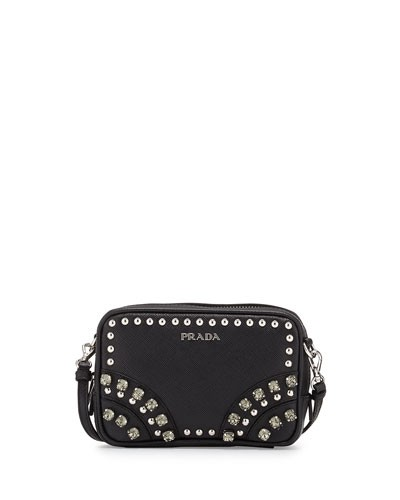 Prada 				 			 		 		 	 	   				 				Saffiano Crystal Crossbody Bag, Black (Nero)