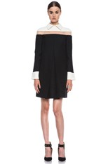 Dress with Collar and Band Trim Detail in Black/White