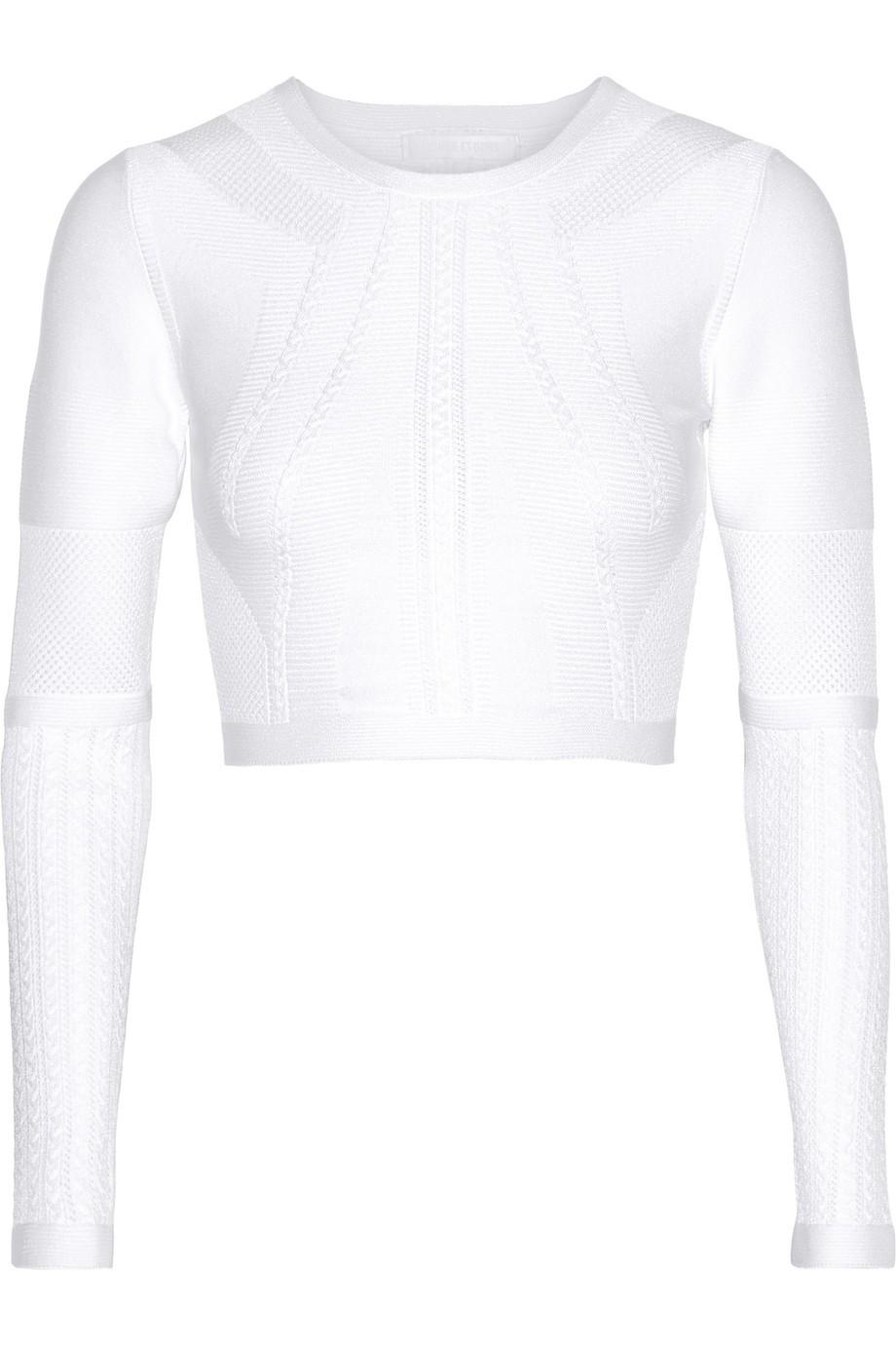 Cushnie Et Ochs Cropped Stretch-Knit Top, White, Women's, Size: XS