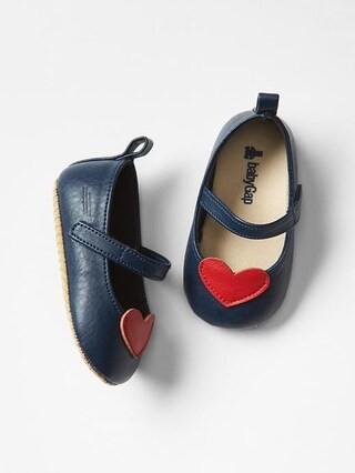 Gap Heart Mary Jane Flats Size 3-6 M - Dark night