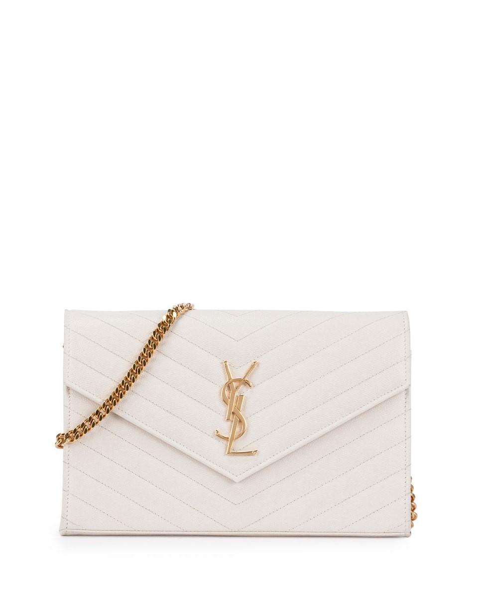 Monogram Matelasse Wallet-On-A-Chain, White (Blanc Grise), Women's - Saint Laurent