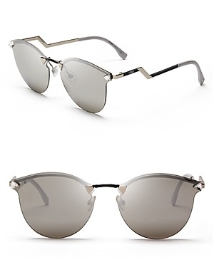 Fendi Mirrored Rimless Cat Eye Sunglasses