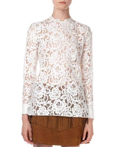 Saint Laurent 				 			 		 		 	 	   				 				Long-Sleeve Floral Lace Top