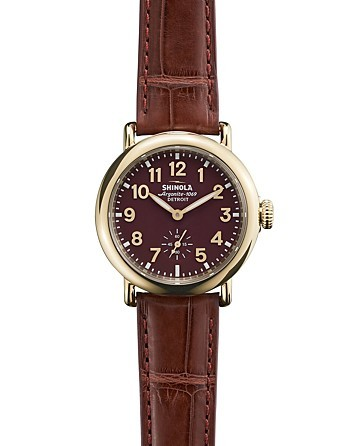 Shinola The Runwell Burgundy Alligator Strap Watch, 36mm