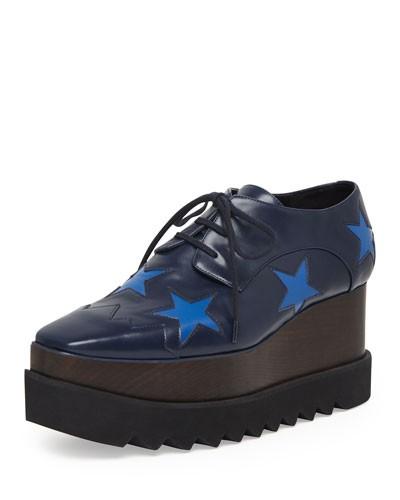 Stella McCartney          Faux-Leather Star Platform Oxford, Navy/Bluebird