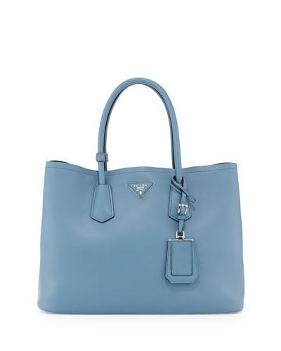 Prada          City Calf Double Bag, Denim Blue (Avio)