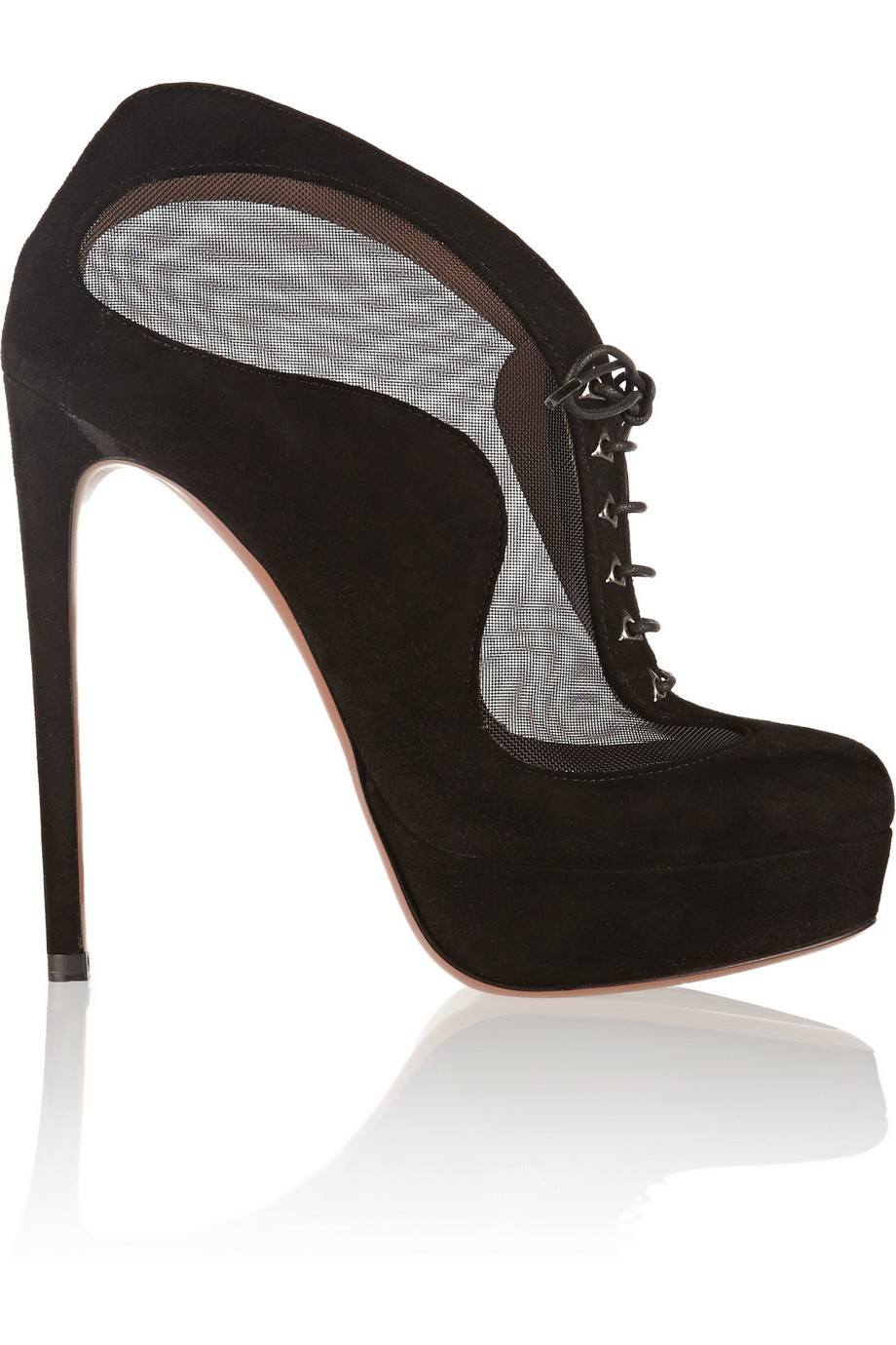 Mesh-paneled suede ankle boots
