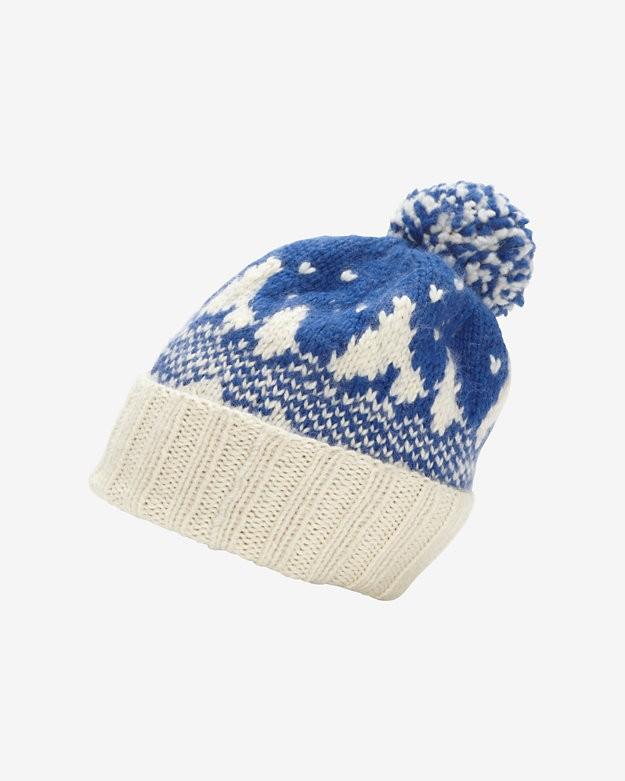 Eugenia Kim Pom Top Snow Knit Beanie: Blue