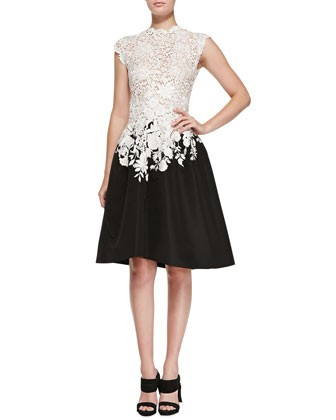Lace & Faille High-Low Dress, Ivory/Black