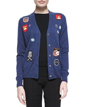 V-Neck Cardigan with Patches