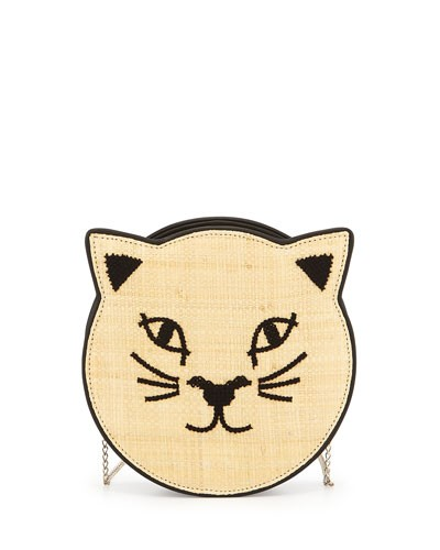 Pussycat Raffia Shoulder Bag, Black