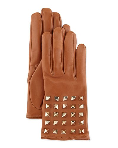 Valentino 				 			 		 		 	 	   				 				Rockstud-Sleeve Leather Gloves, Camel