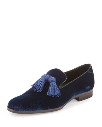 Foxley Velvet Tassel Loafer, Royal