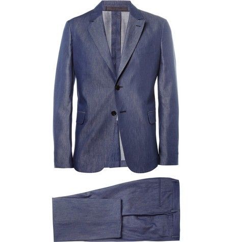 Blue Slim-Fit Cotton-Chambray Suit